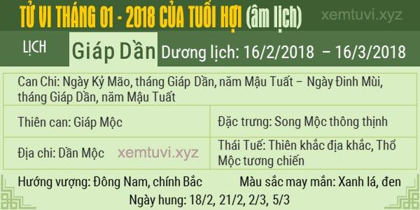 Xem tử vi tháng 1 năm 2018 của tuổi Hợi