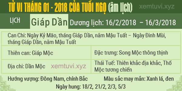 Xem tử vi tháng 1 năm 2018 của tuổi Ngọ