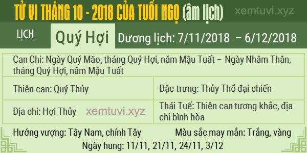 Xem tử vi tháng 10 năm 2018 của tuổi Ngọ