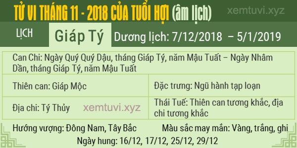 Xem tử vi tháng 11 năm 2018 của tuổi Hợi