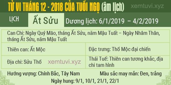 Xem tử vi tháng 12 năm 2018 của tuổi Ngọ
