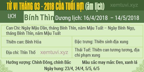 Xem tử vi tháng 3 năm 2018 của tuổi Hợi
