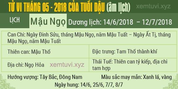 Xem tử vi tháng 5 năm 2018 của tuổi Dậu