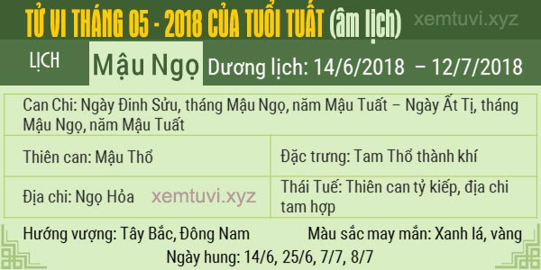 Xem tử vi tháng 5 năm 2018 của tuổi Tuất