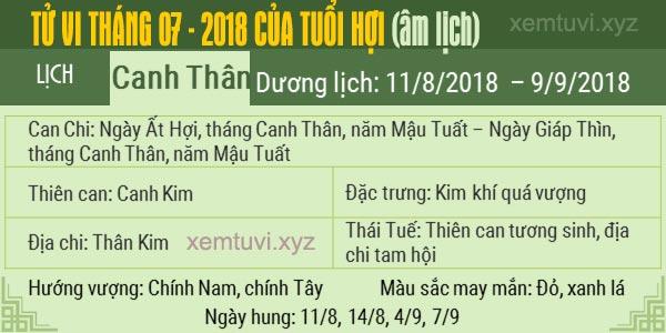 Xem tử vi tháng 7 năm 2018 của tuổi Hợi