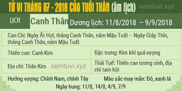 Xem tử vi tháng 7 năm 2018 của tuổi Thân