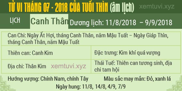 Xem tử vi tháng 7 năm 2018 của tuổi Thìn